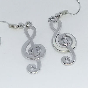 Jewelry - MUSIC NOTE EARRINGS - Treble Clef Silver Jewelry